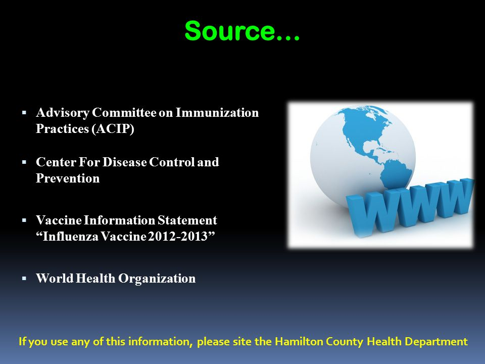 Source… Advisory Committee on Immunization Practices (ACIP)