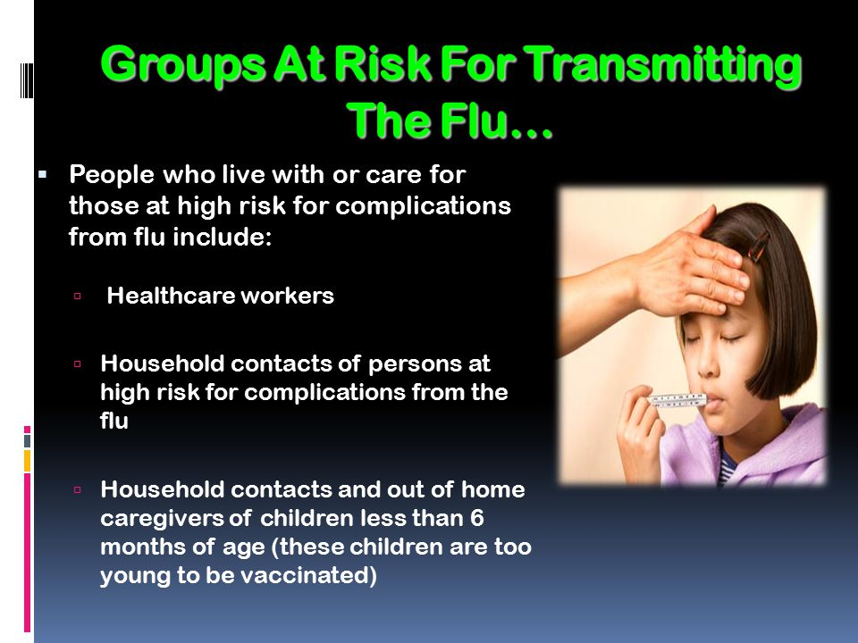 Groups At Risk For Transmitting The Flu…