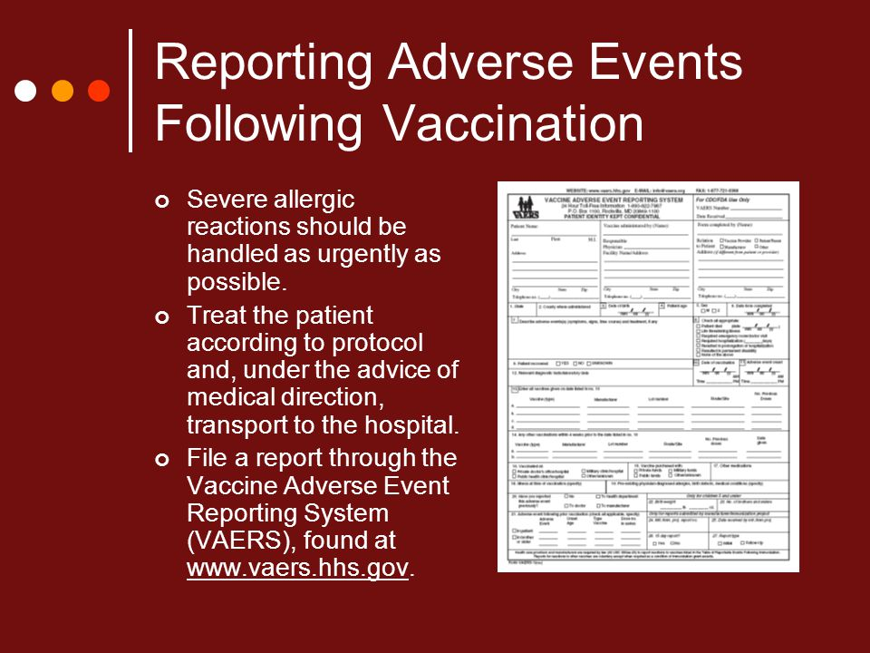 Reporting Adverse Events Following Vaccination