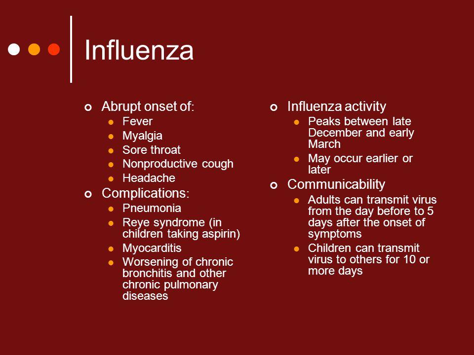 Influenza Abrupt onset of: Complications: Influenza activity