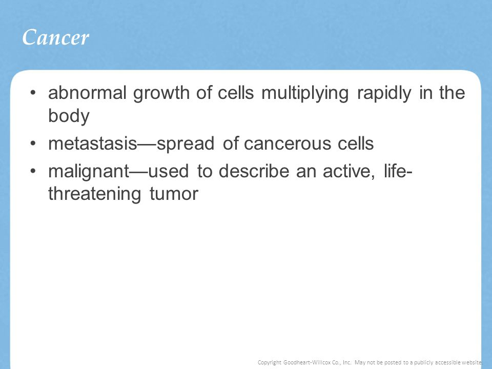 Cancer abnormal growth of cells multiplying rapidly in the body