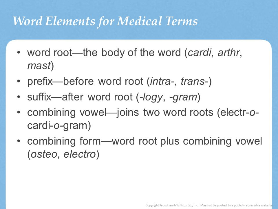 Word Elements for Medical Terms