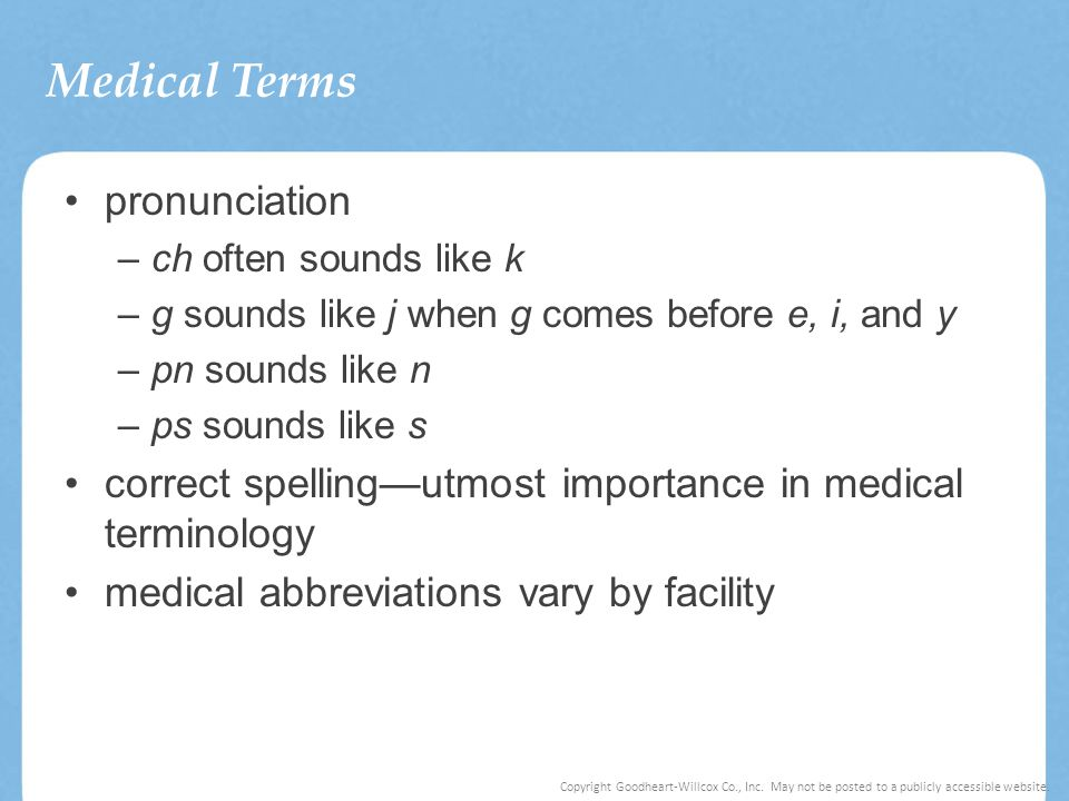 Medical Terms pronunciation