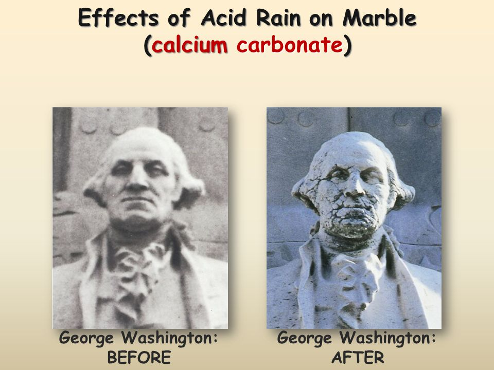 Effects of Acid Rain on Marble (calcium carbonate)