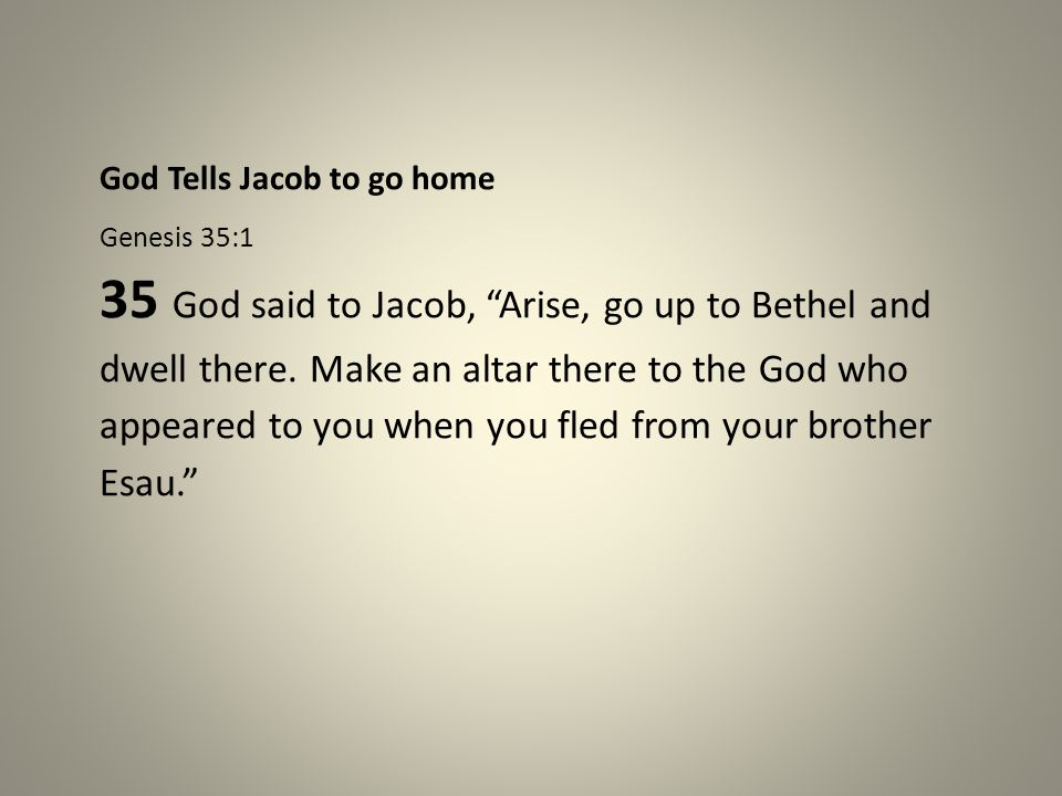 God Tells Jacob to go home