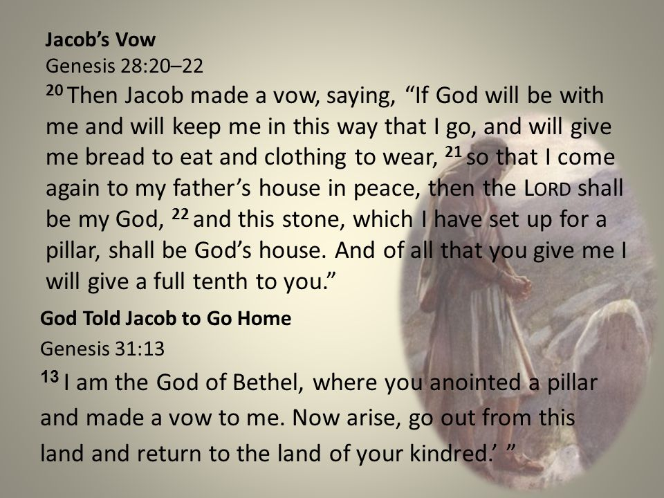 Jacob's Vow Genesis 28:20–22.