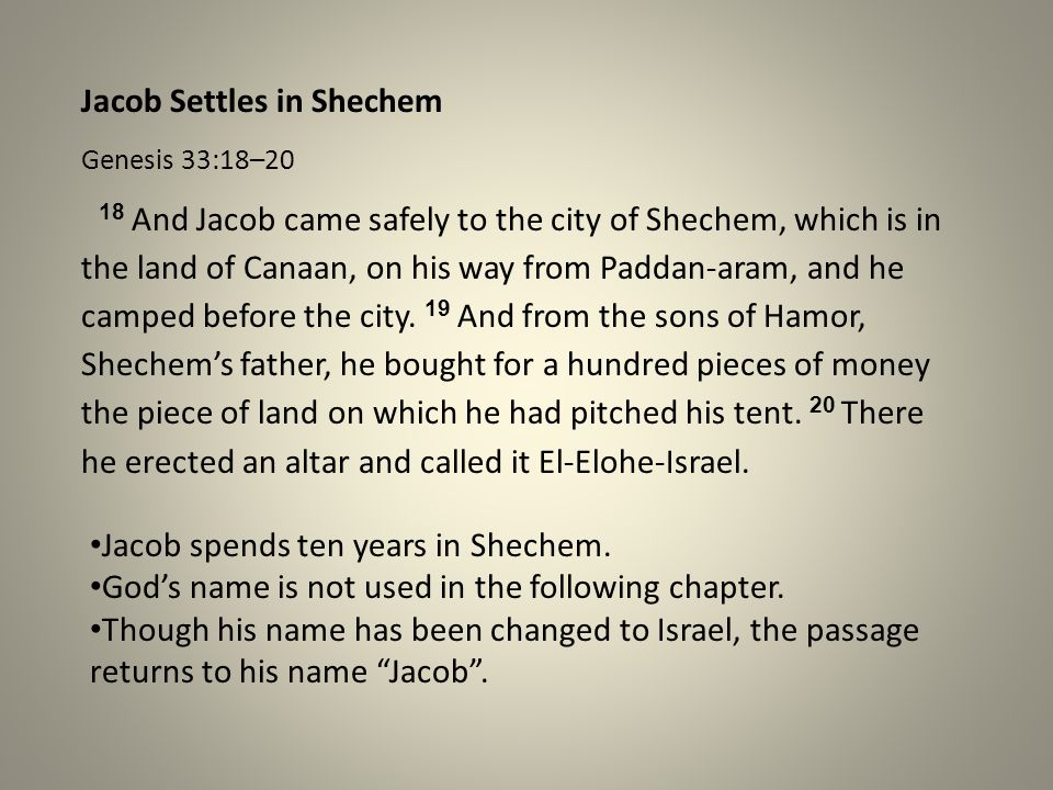 Jacob Settles in Shechem
