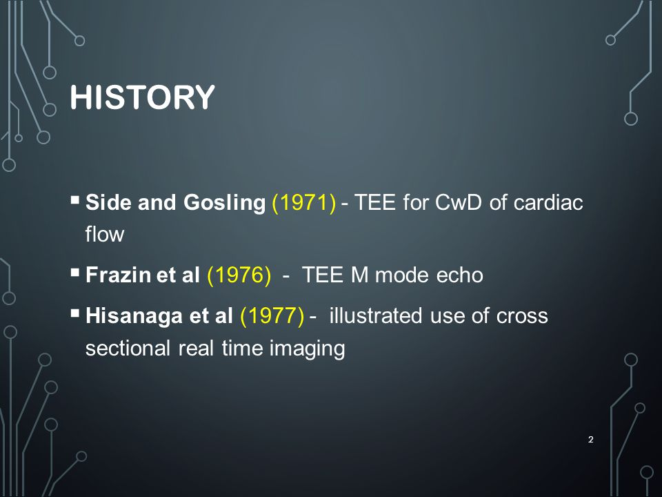 HISTORY Side and Gosling (1971) - TEE for CwD of cardiac flow