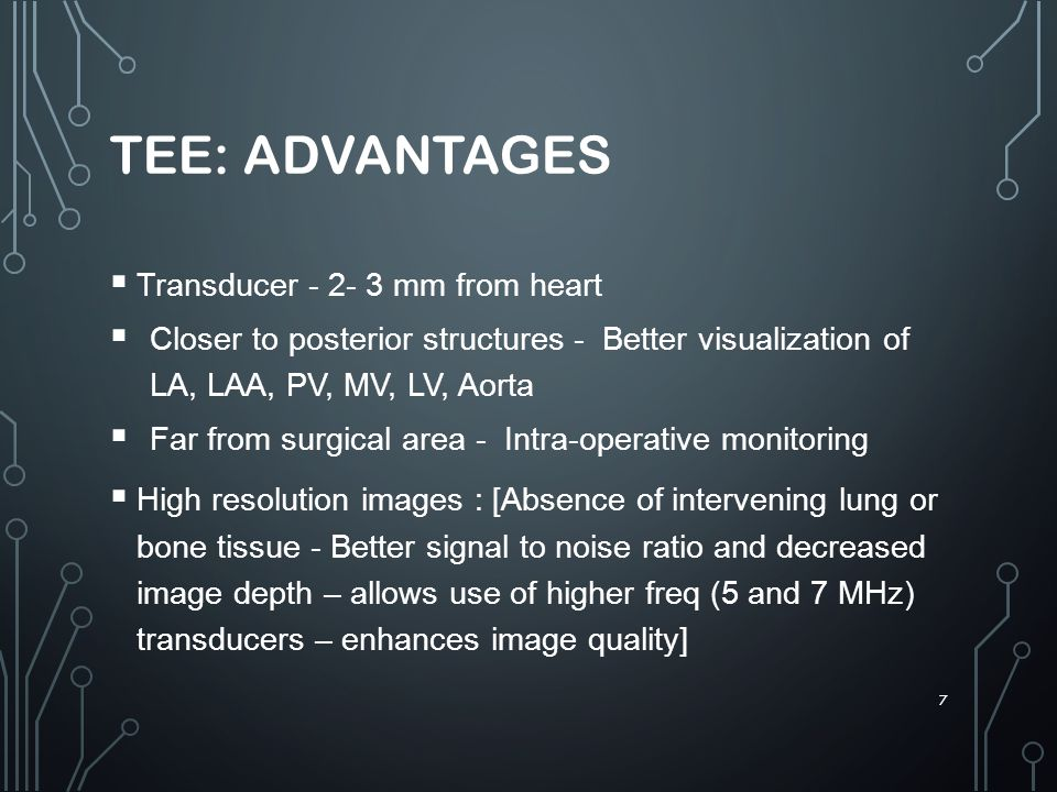 TEE: Advantages Transducer - 2- 3 mm from heart