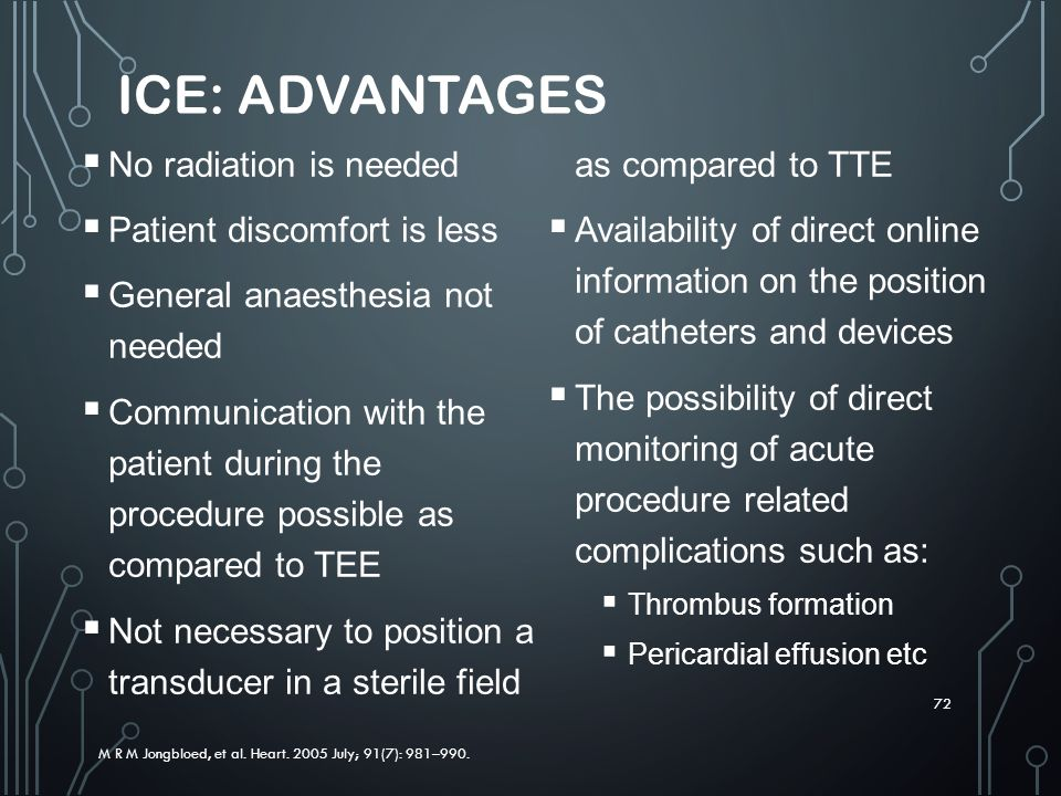 ICE: Advantages No radiation is needed