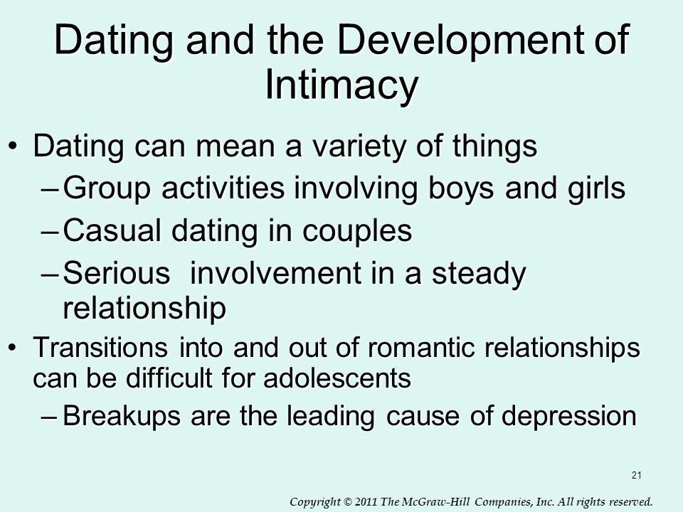 Dating and the Development of Intimacy