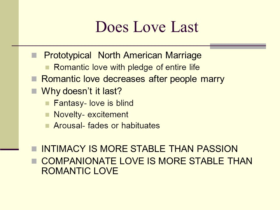 Does Love Last Prototypical North American Marriage