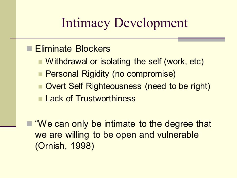 Intimacy Development Eliminate Blockers