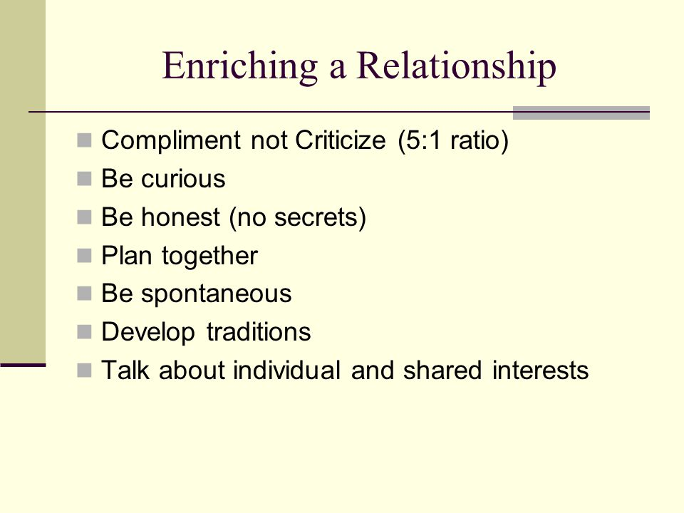 Enriching a Relationship