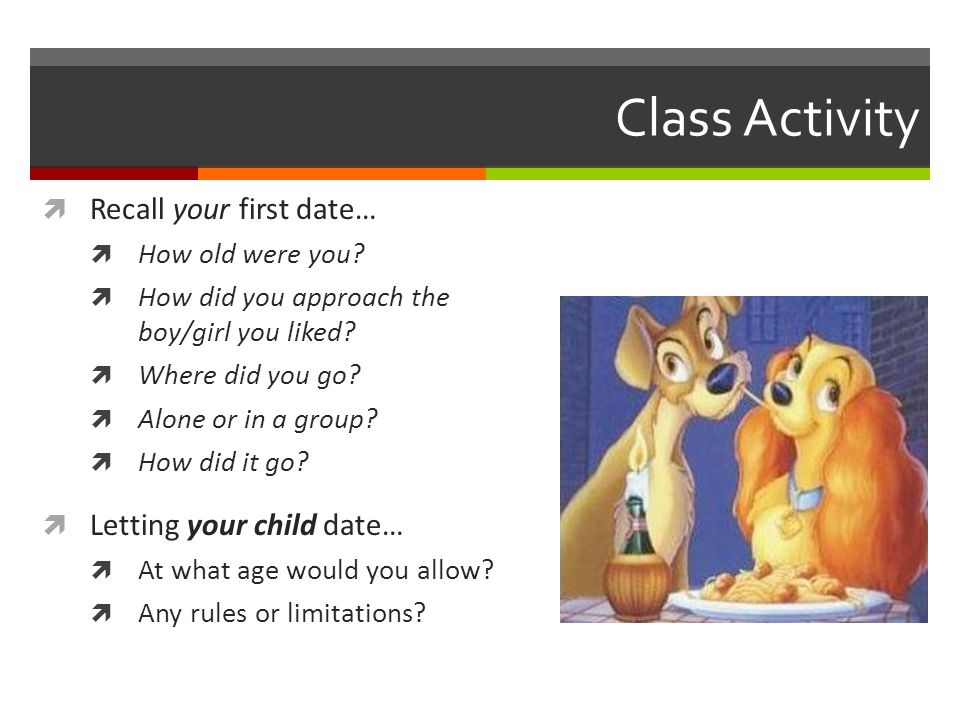 Class Activity Recall your first date… Letting your child date…