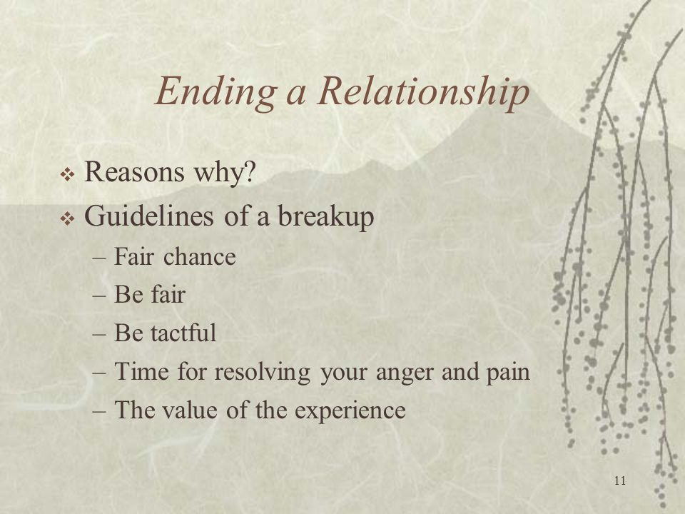 Ending a Relationship Reasons why Guidelines of a breakup Fair chance