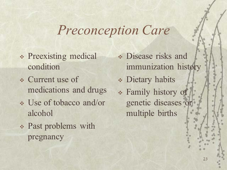 Preconception Care Preexisting medical condition