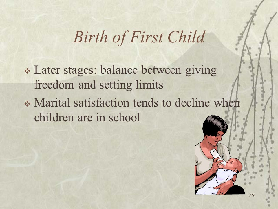 Birth of First Child Later stages: balance between giving freedom and setting limits.