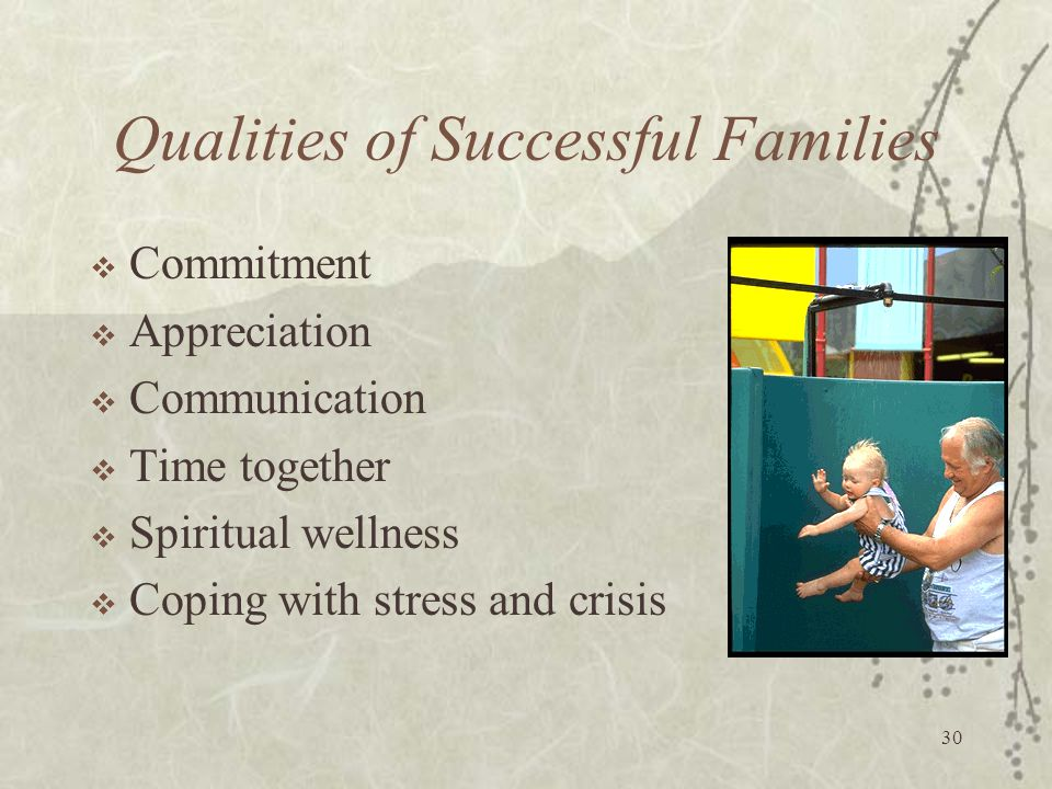 Qualities of Successful Families