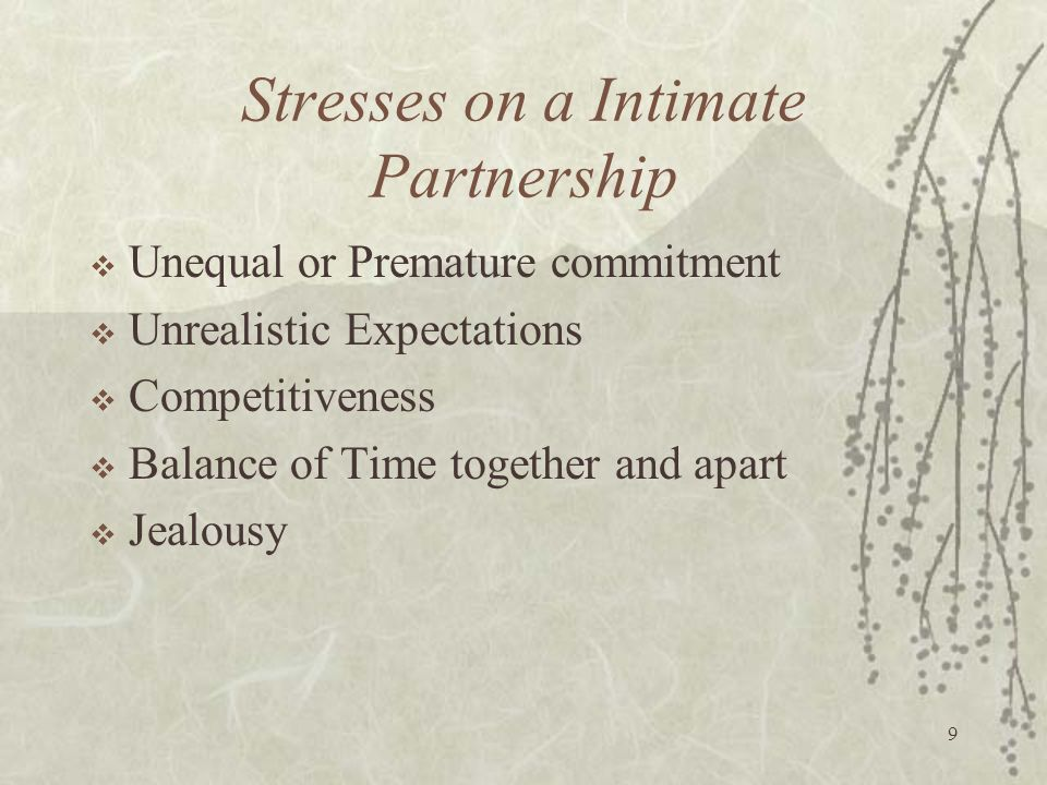 Stresses on a Intimate Partnership