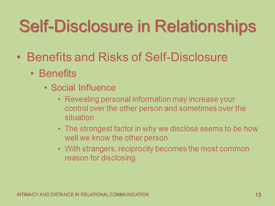 Self-Disclosure in Relationships