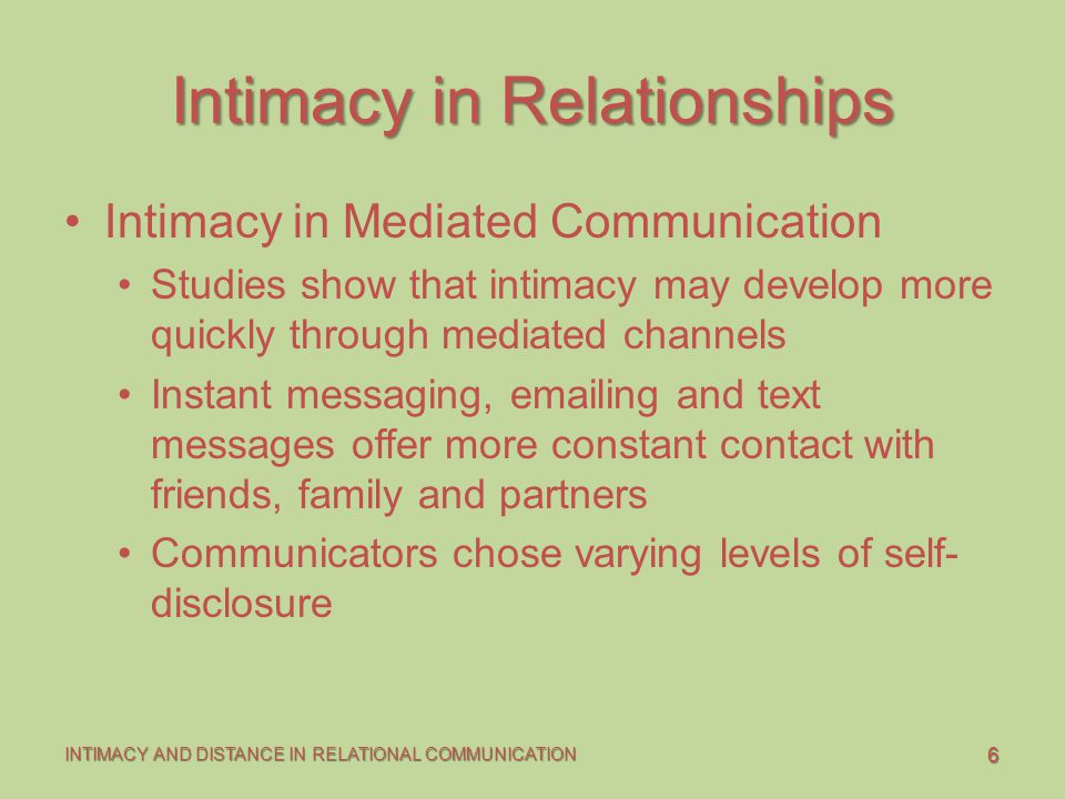 Intimacy in Relationships