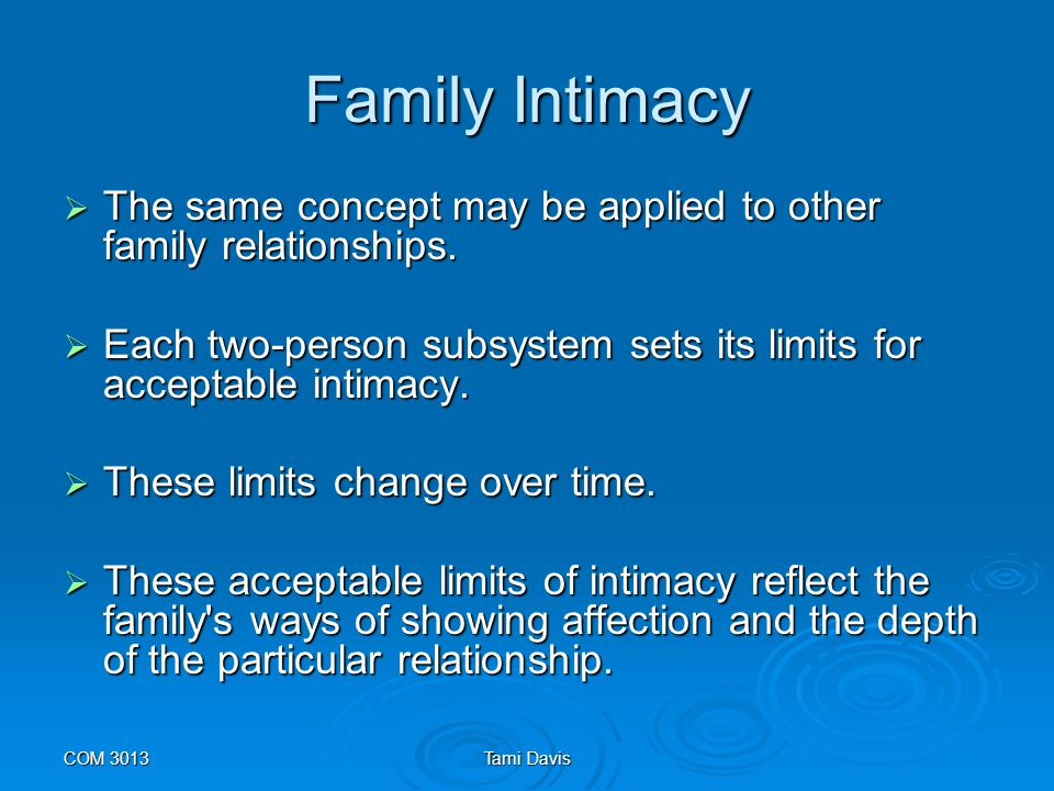 Family Intimacy The same concept may be applied to other family relationships. Each two-person subsystem sets its limits for acceptable intimacy.