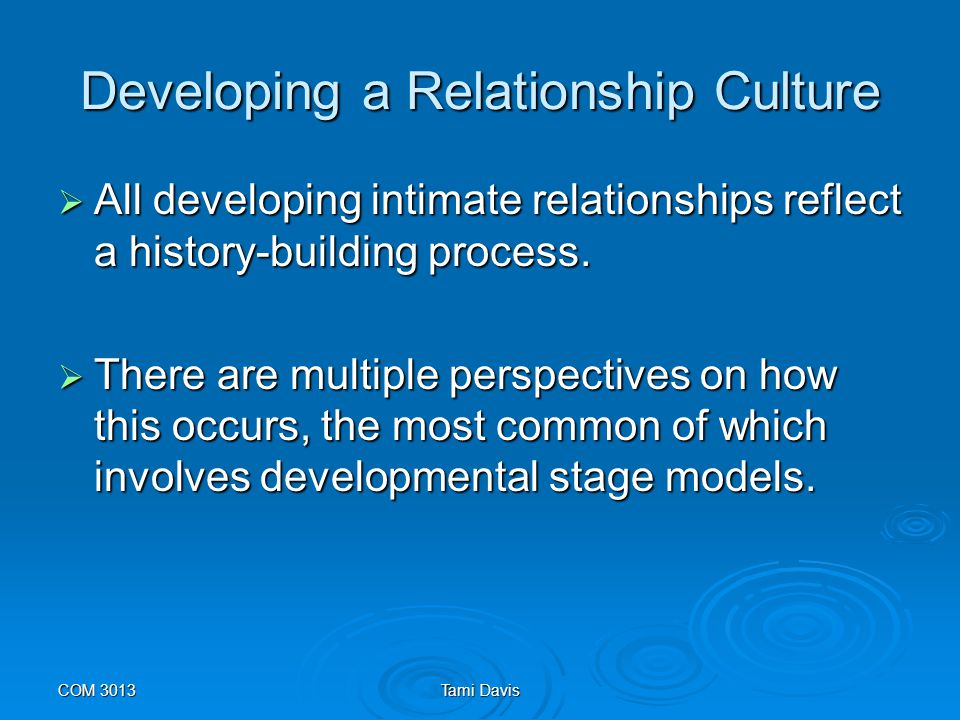 Developing a Relationship Culture