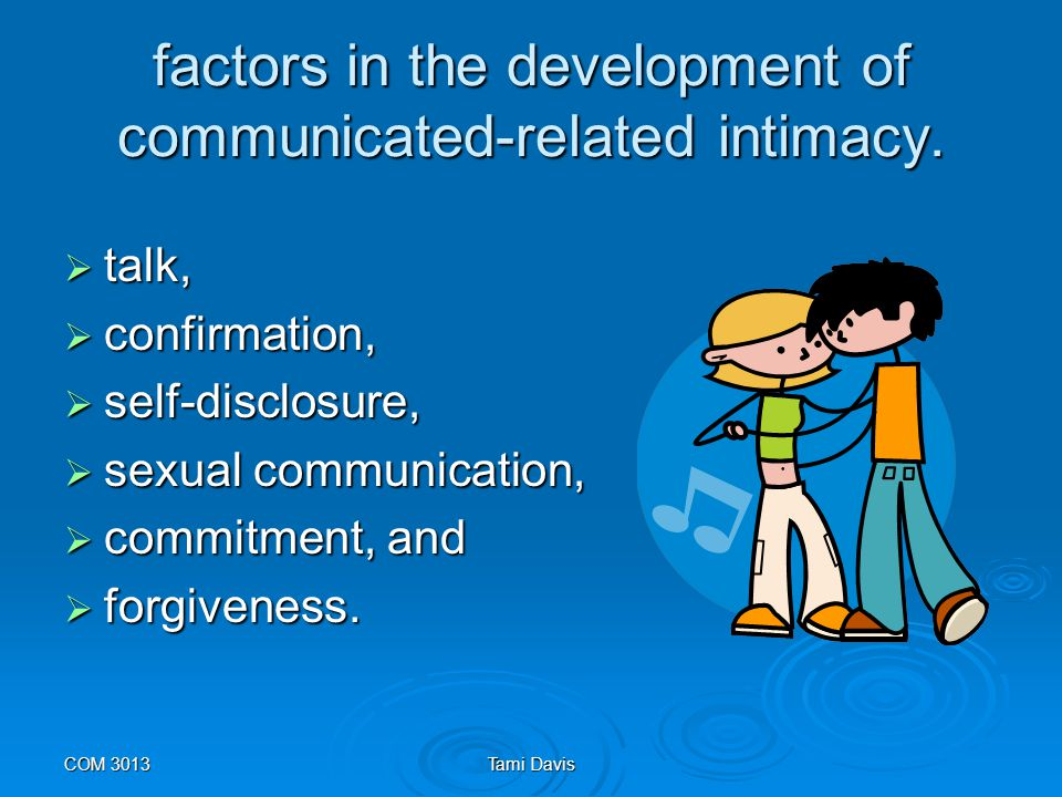 factors in the development of communicated-related intimacy.
