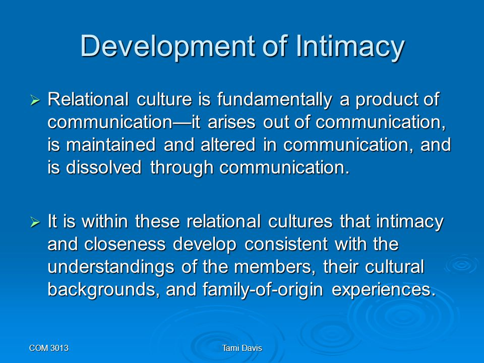 Development of Intimacy