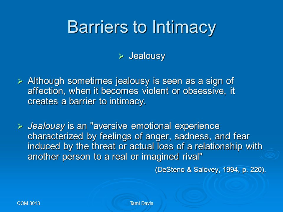 Barriers to Intimacy Jealousy