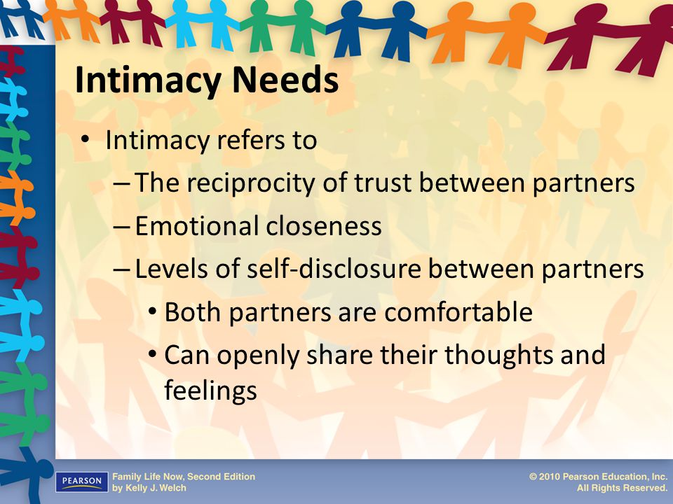 Intimacy Needs Intimacy refers to