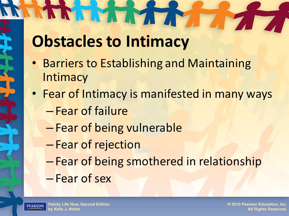 Obstacles to Intimacy Barriers to Establishing and Maintaining Intimacy. Fear of Intimacy is manifested in many ways.