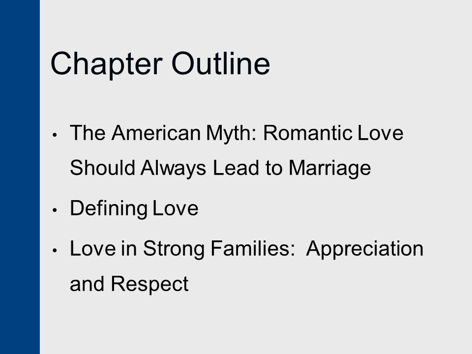 Chapter Outline The American Myth: Romantic Love Should Always Lead to Marriage.