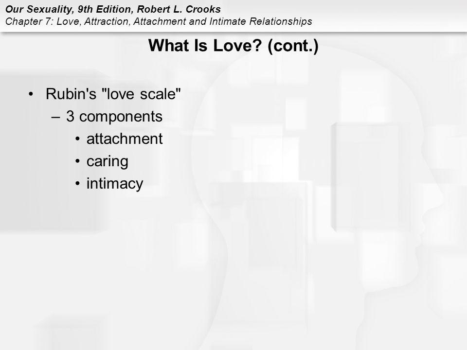 What Is Love (cont.) Rubin s love scale 3 components attachment