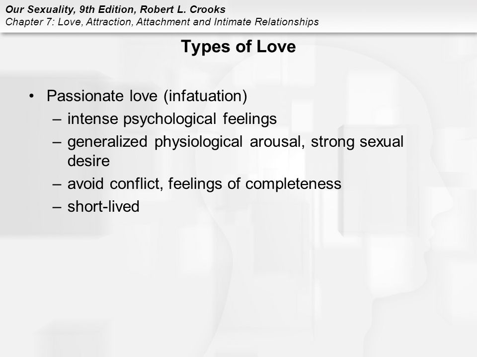 Types of Love Passionate love (infatuation)