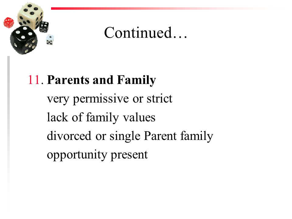 Continued… 11. Parents and Family very permissive or strict