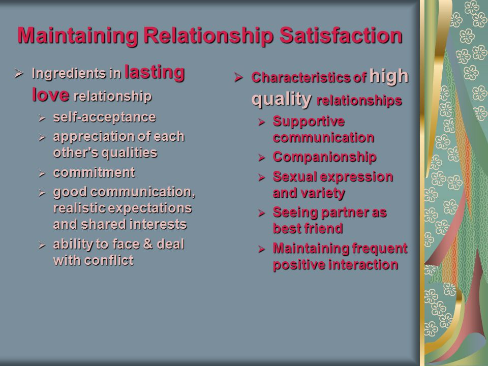 Maintaining Relationship Satisfaction