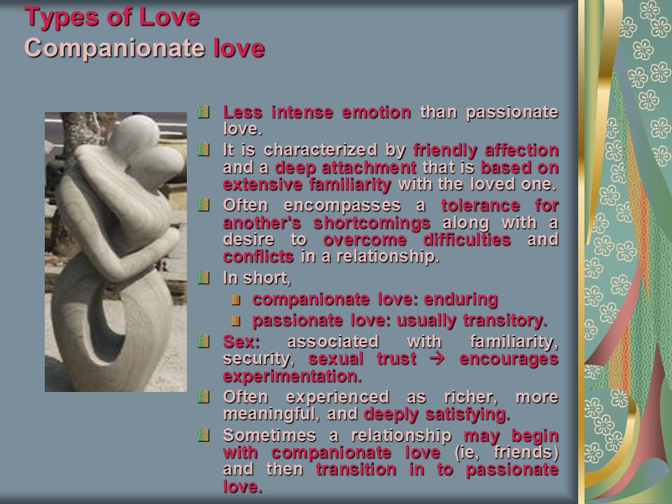 Types of Love Companionate love