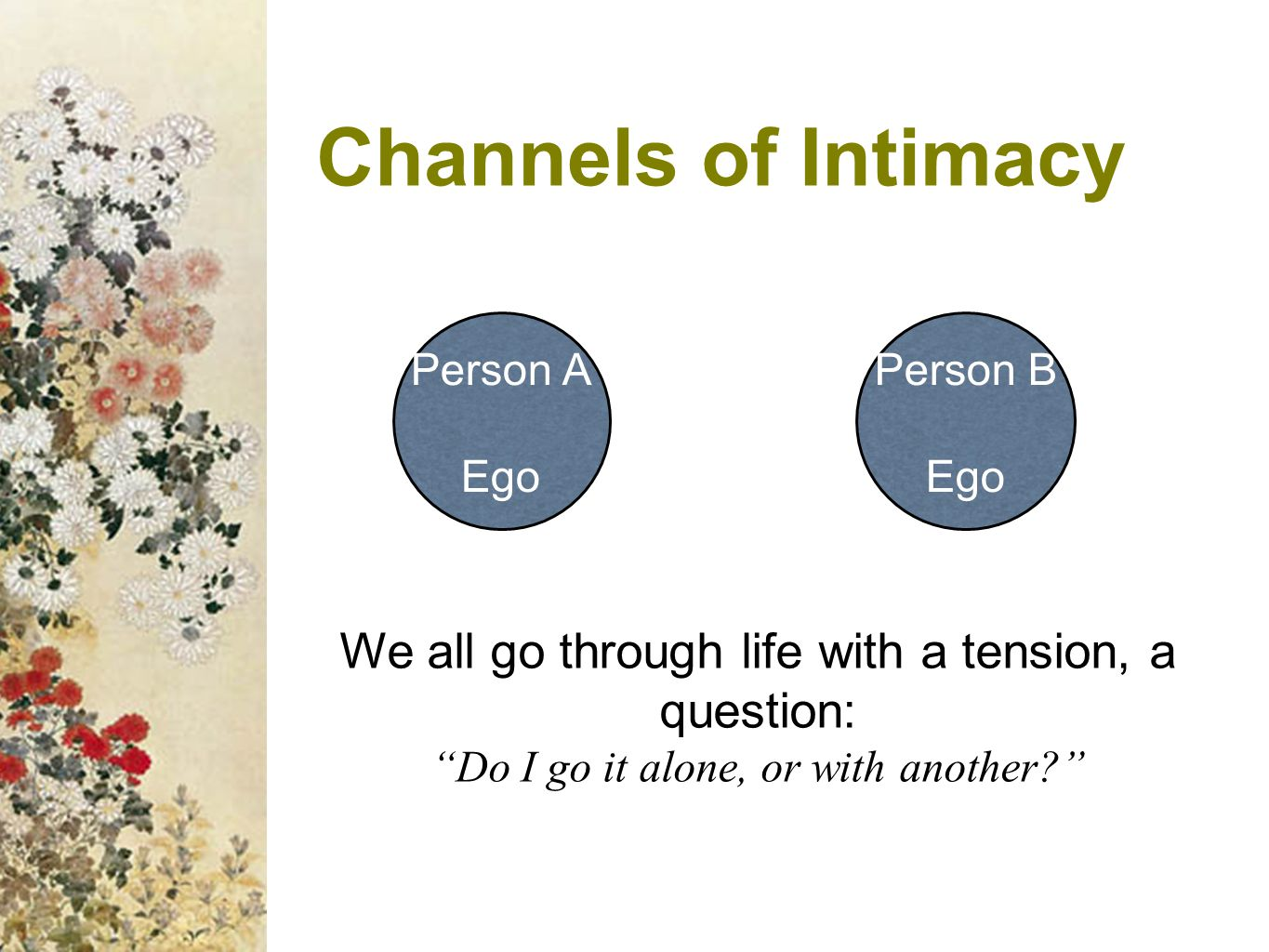 Channels of Intimacy Person A. Ego. Person B. Ego. We all go through life with a tension, a question: