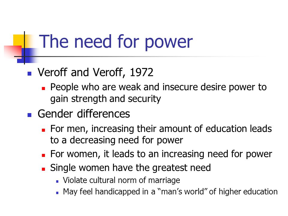 The need for power Veroff and Veroff, 1972 Gender differences