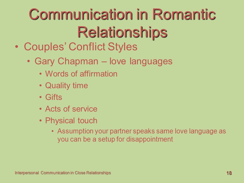 Communication in Romantic Relationships