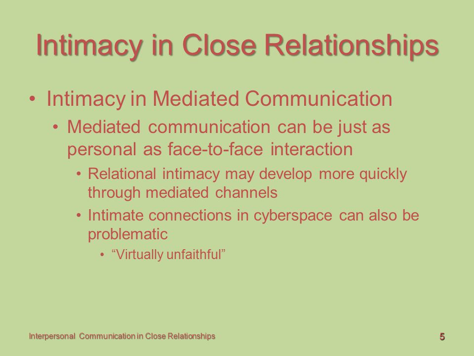 Intimacy in Close Relationships