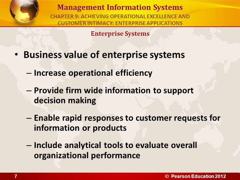 Business value of enterprise systems