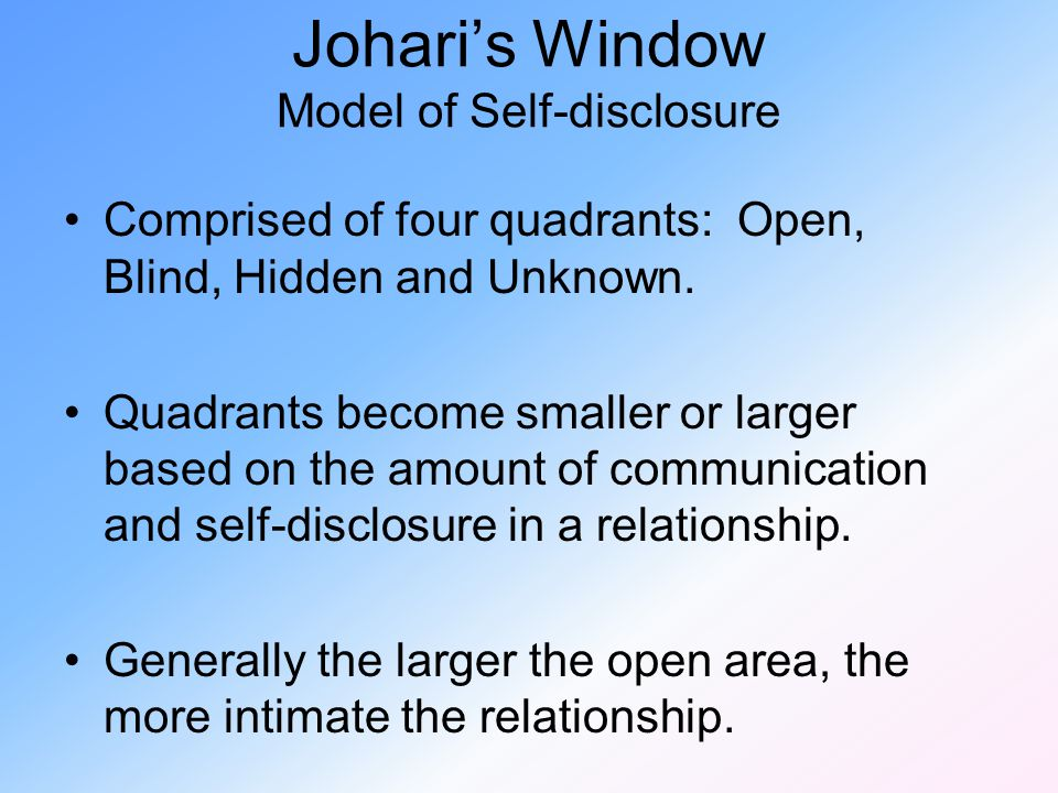 Johari's Window Model of Self-disclosure