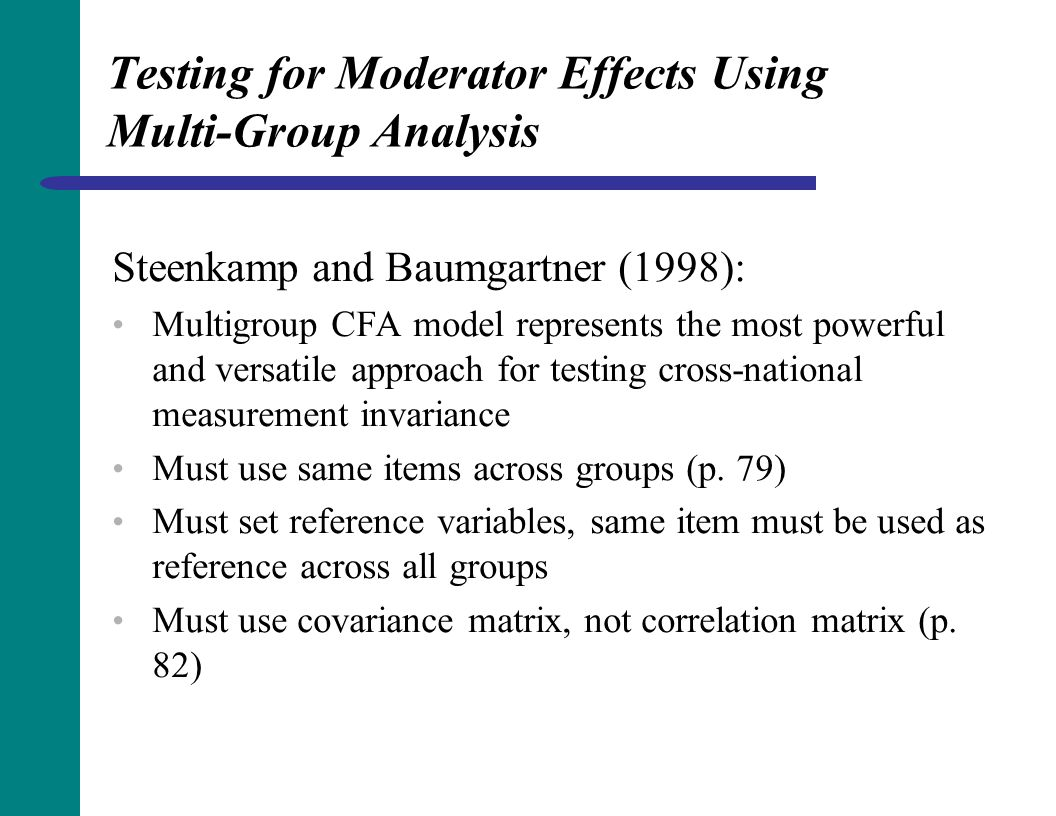 Testing for Moderator Effects Using Multi-Group Analysis