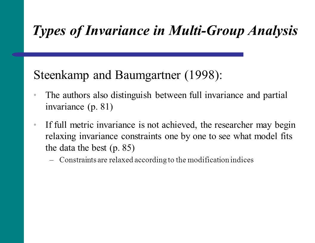 Types of Invariance in Multi-Group Analysis