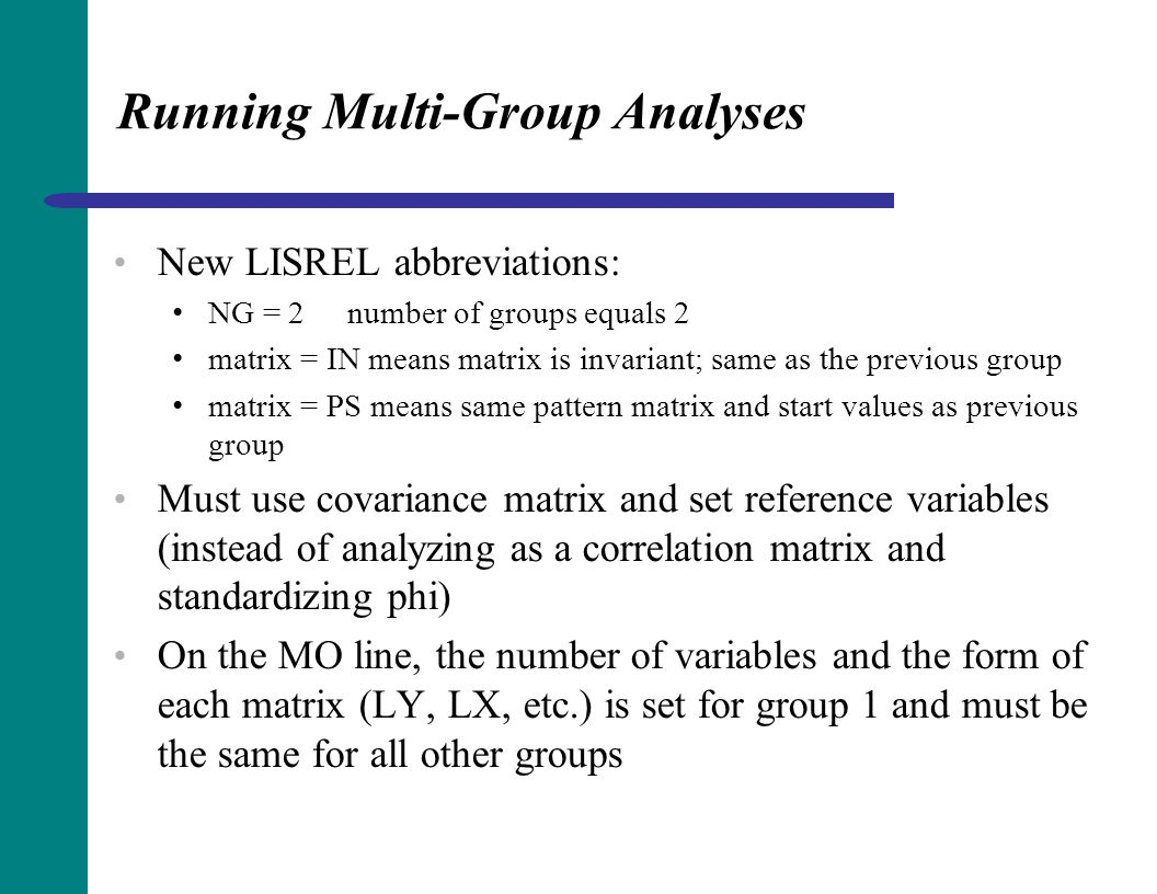 Running Multi-Group Analyses