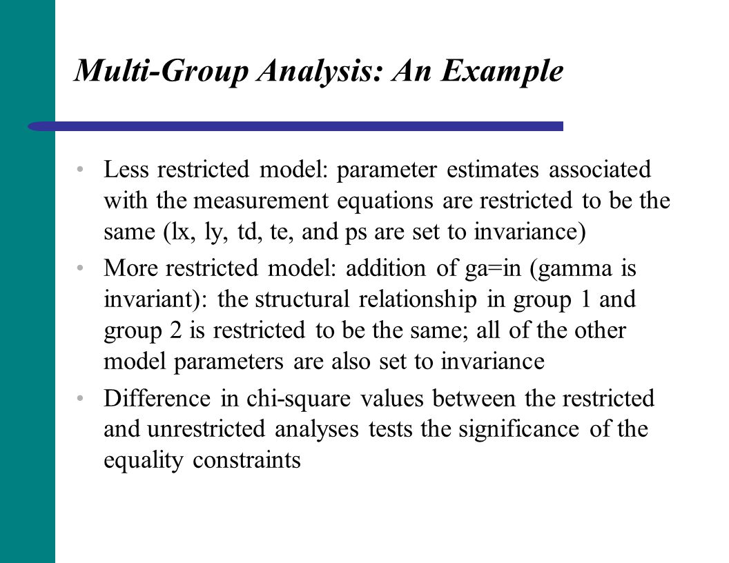 Multi-Group Analysis: An Example