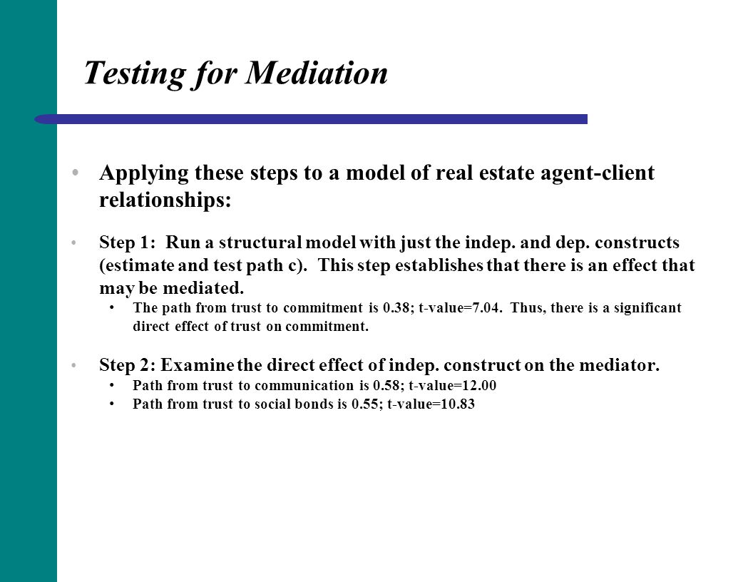Testing for Mediation Applying these steps to a model of real estate agent-client relationships: